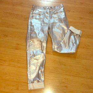 Metallic silver pants